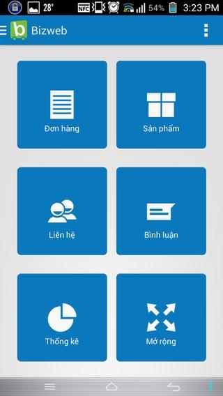 ứng dụng quản lý website trên điện thoại Bizweb