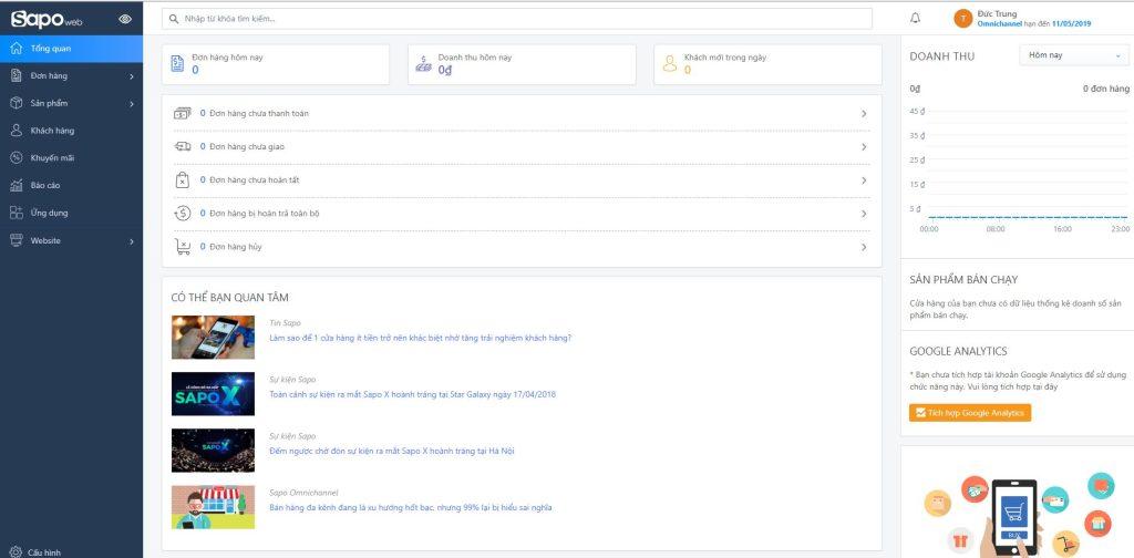 Đánh giá Website bán hàng Sapo